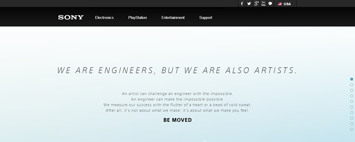 Sony - Web con scroll efecto Parallax